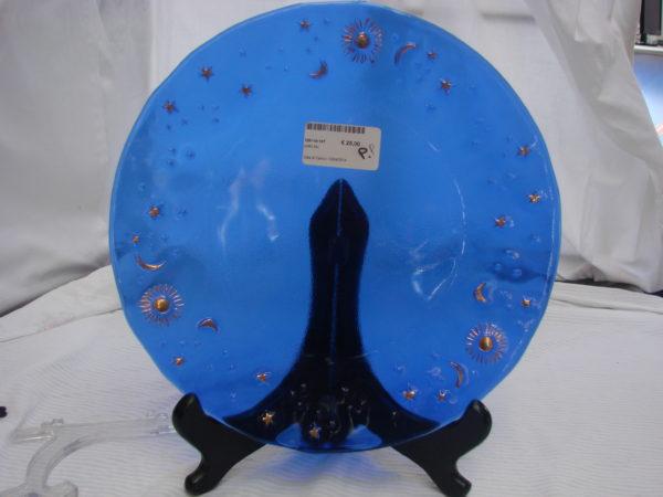 Piatto in vetro blu