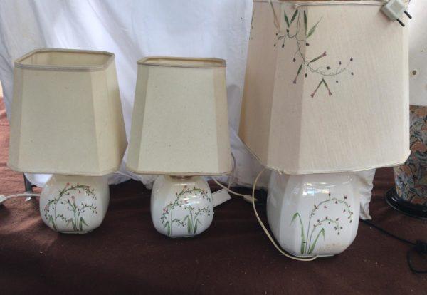 Tris di lampade in porcellana